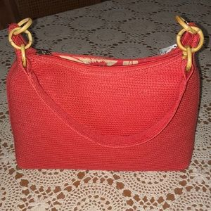 Coral straw handbag from Talbots